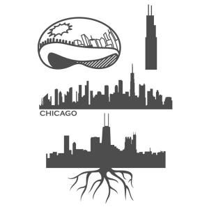 Chicago Illinois Skyline And Landmarks Like The Bean Willis Tower Cuttable Design Cut File Vector Clipart Digital Scrapbooking Download Ava