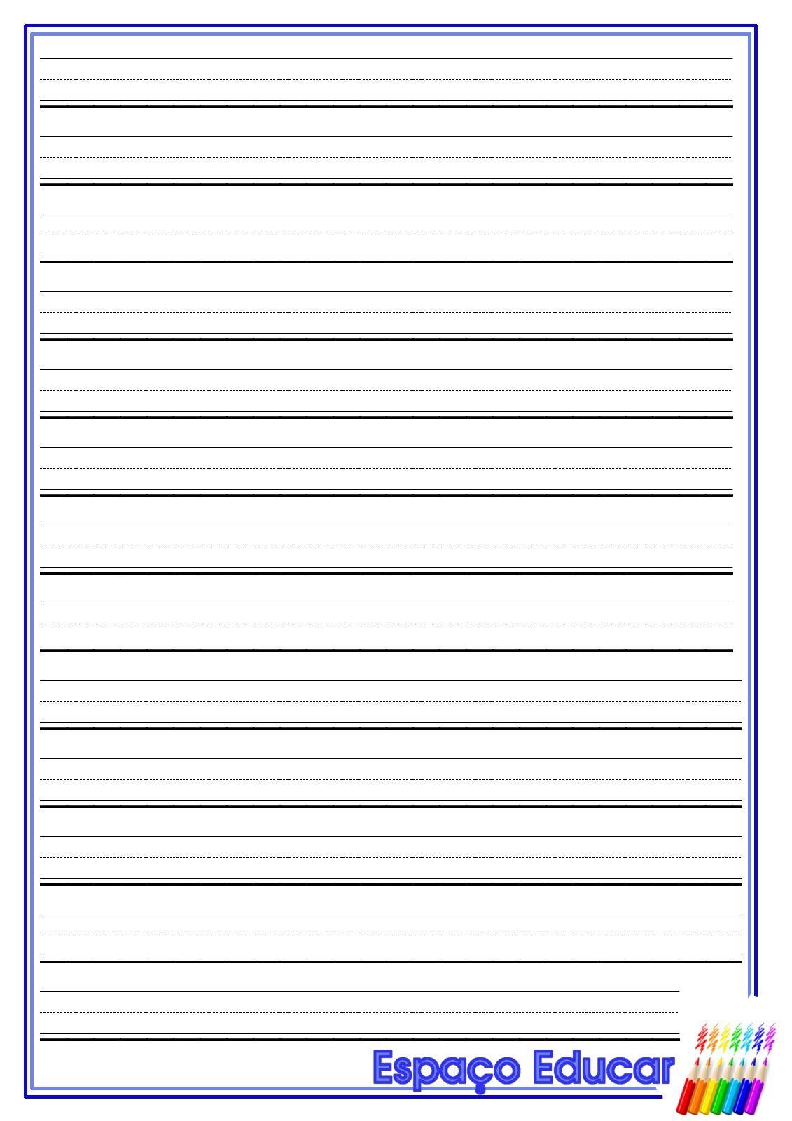 Folha De Duas Linhas Caligrafia Caderno Textos