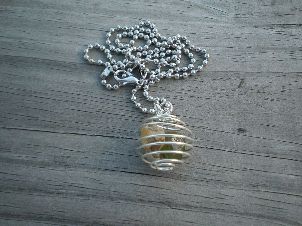 Rough Ethiopian Opal and Sapphire Cage Pendant Necklace by tlw1212 on Etsy