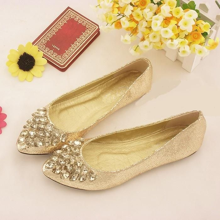 autumn new Korean version of the diamond single shoes comfortable flat with shallow mouth shoes pointed flat shoes weddingshoes