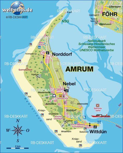 Karte Von Amrum Deutschland Schleswig Holstein Amrum Amrum