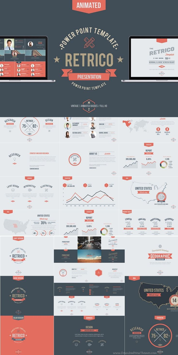 Retrico vintage slides template infographics design and layout retrico retro style powerpoint template presentation easily editable slides ppt download now toneelgroepblik Image collections