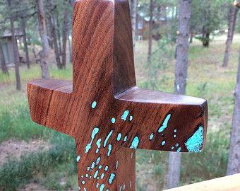 Maple Cross with Turquoise Inlay 22 high x 3.5 by BlackFacedSheep