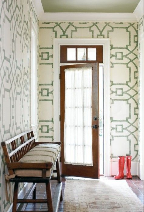Wonderful large scale Fretwork wallpaper (and green ceiling) make this entry!