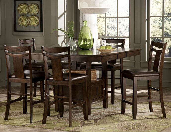 Homelegance 2524 36 7 Pc Broome Dark Brown Finish Wood Counter Height Dining Table Set With Seats Dining Table With Storage Counter Height Dining Table Set Counter Height Dining Sets