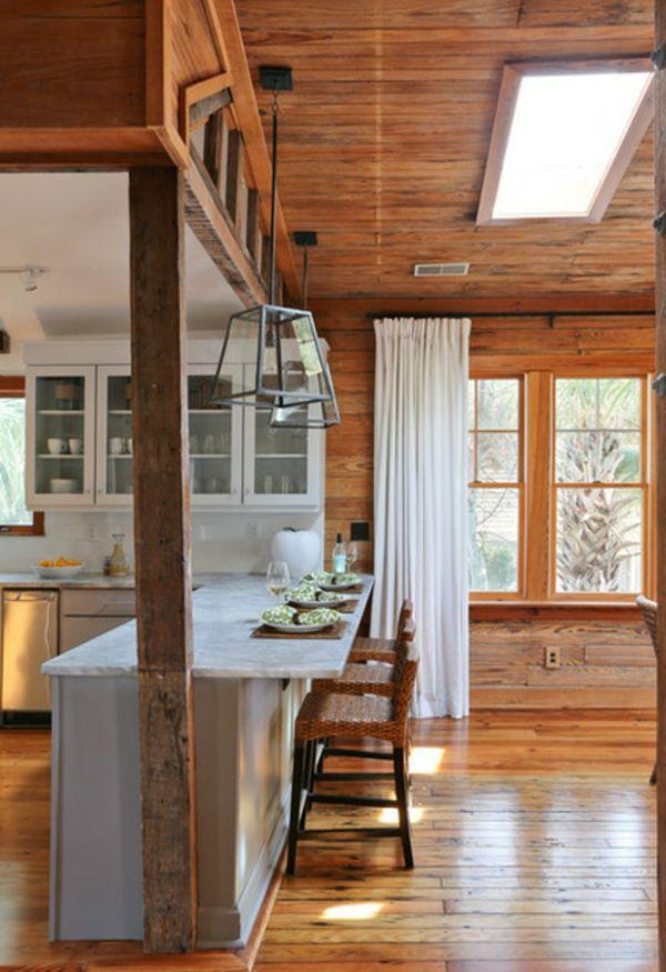 Abendessen in der Küche holz stuhl leuchter kücheninsel idee - k che wei holz