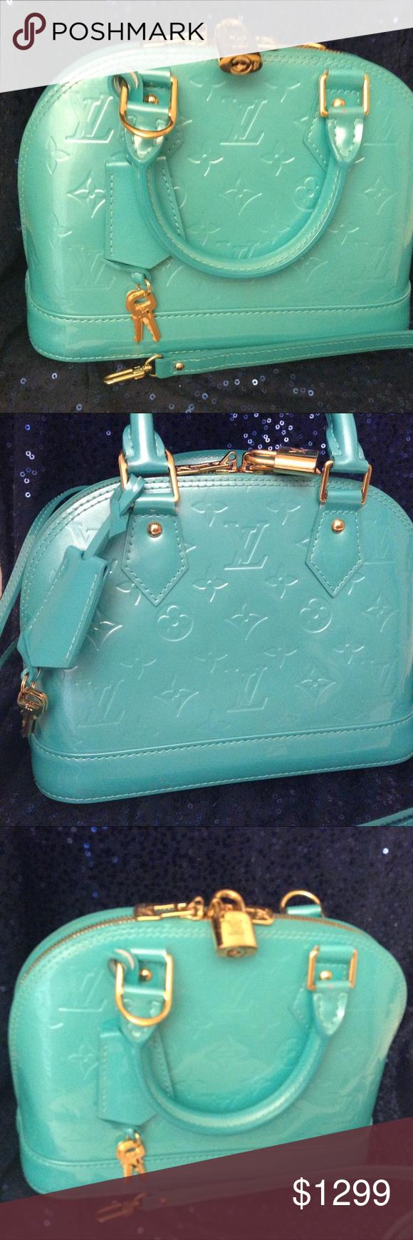 6820e67bb985 Louis Vuitton Blue Lagoon Handbag Louis Vuitton Blue Lagoon Vernis Patent  Leather Monogram Handbag - measurement match bb size. Louis Vuitton Bags