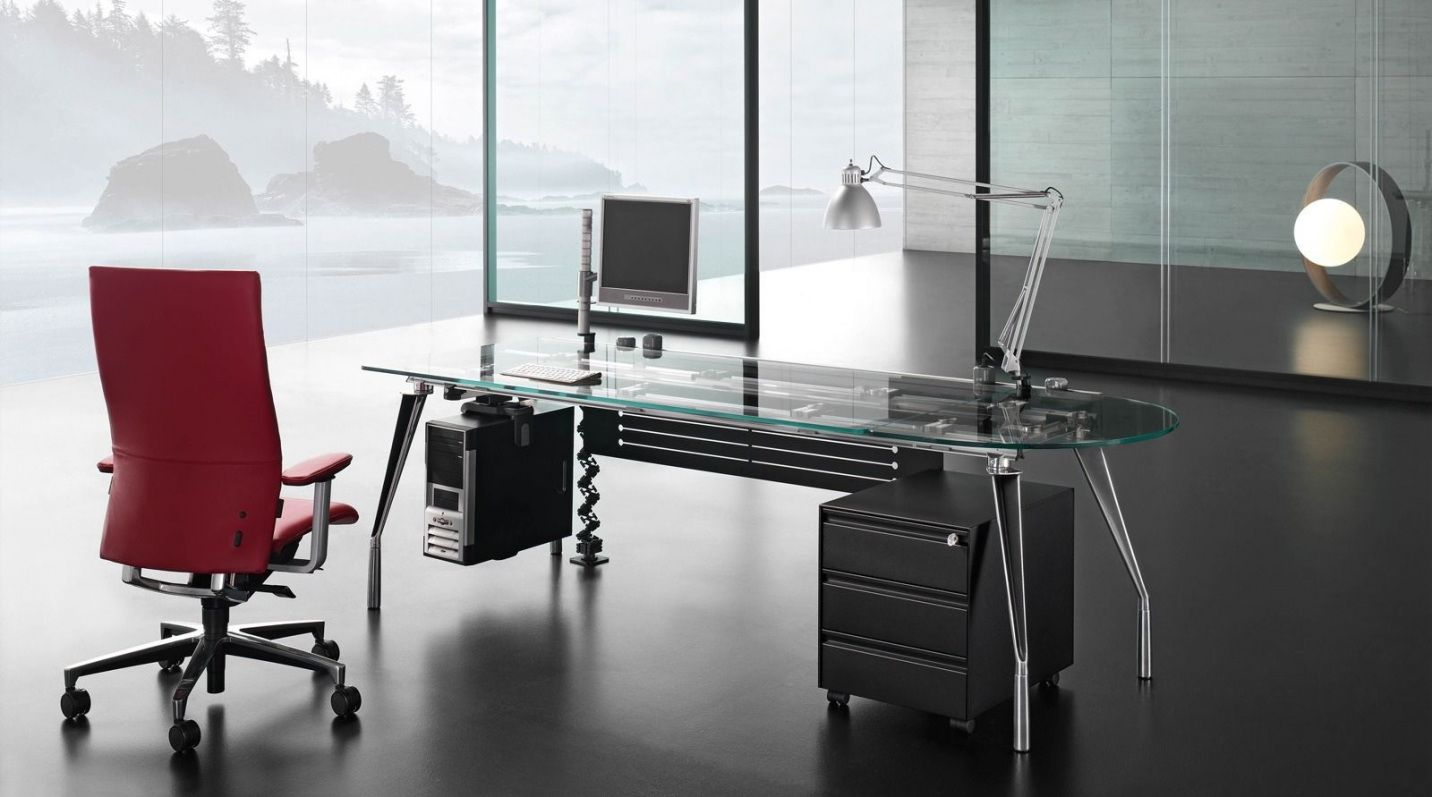 Contemporary Glass Office Desk Luxury Home Office Furniture