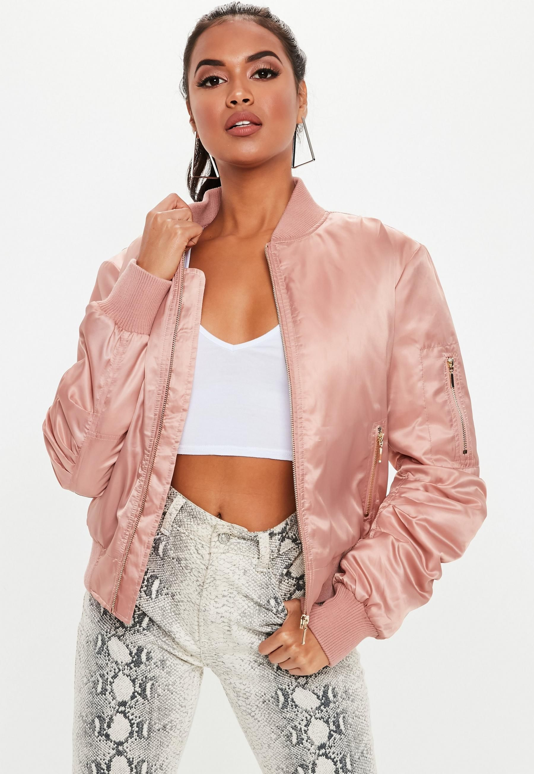 Pink Ultimate Ma1 Bomber Jacket Missguided Pink Bomber Jacket Bomber Jacket Coats Jackets Women [ 2608 x 1800 Pixel ]