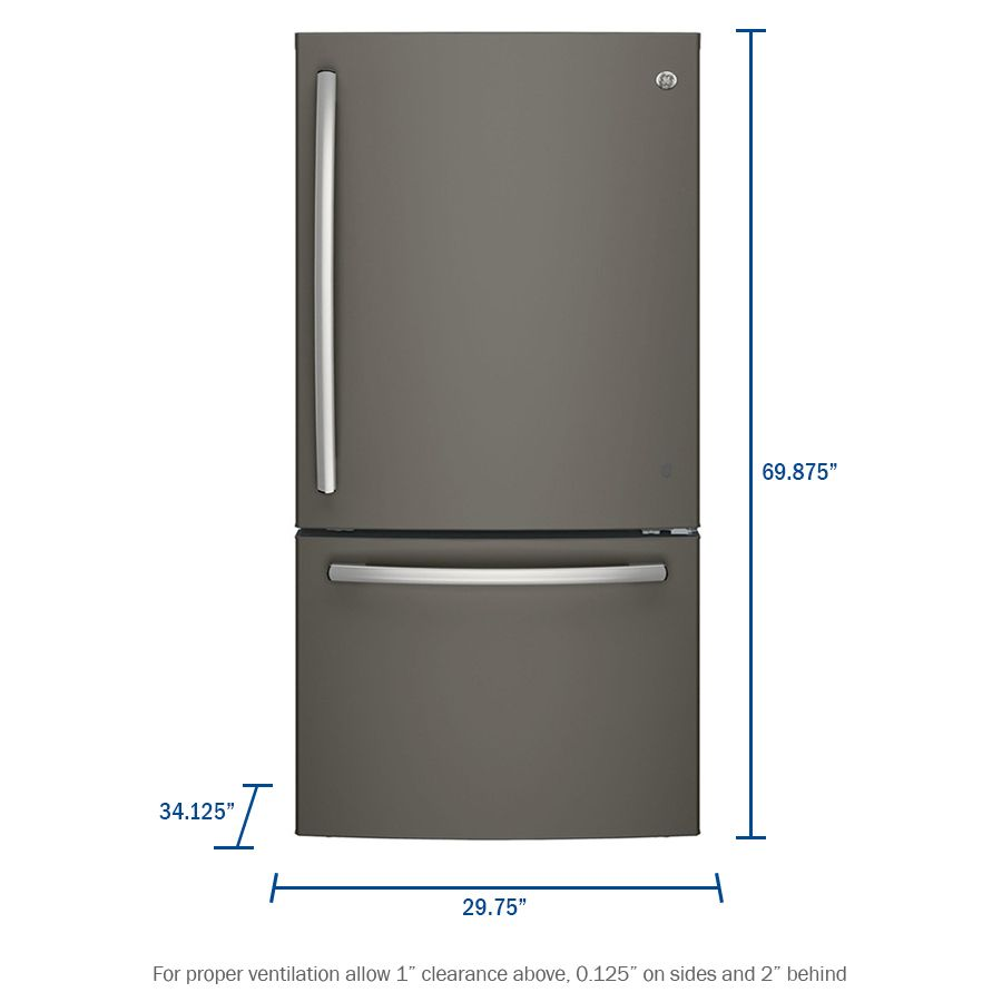 Ge 20 9 Cu Ft Bottom Freezer Refrigerator With Ice Maker Fingerprint Resistant Slate Energy Star Lowes Com Bottom Freezer Refrigerator Bottom Freezer Refrigerator