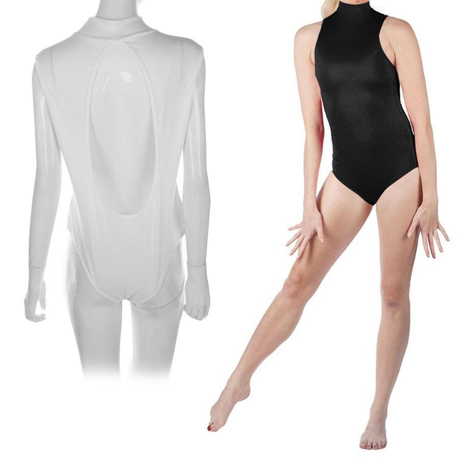 b867670f5d Women Slim Sleeveless Ladies Stretch Turtleneck Bodysuit Backless Plain  Tops Oa
