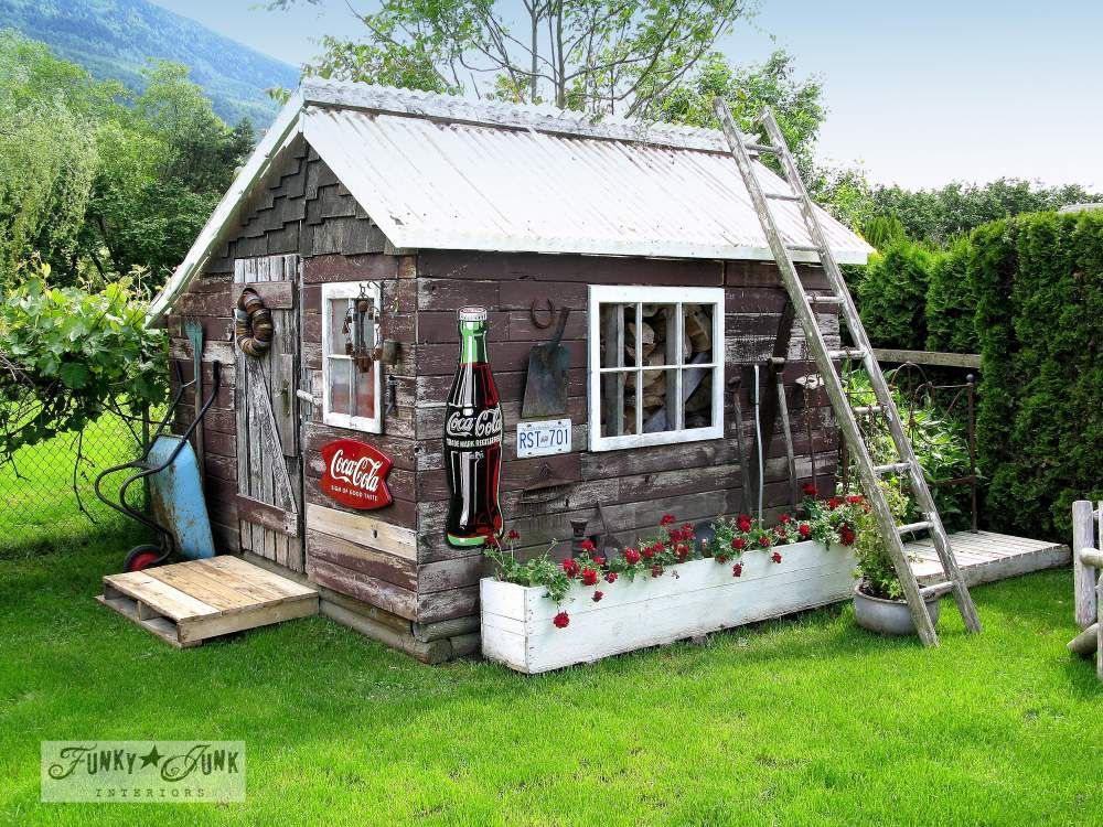 A junk filled summer home decorating tour pallet walkway for Rustic shed with porch