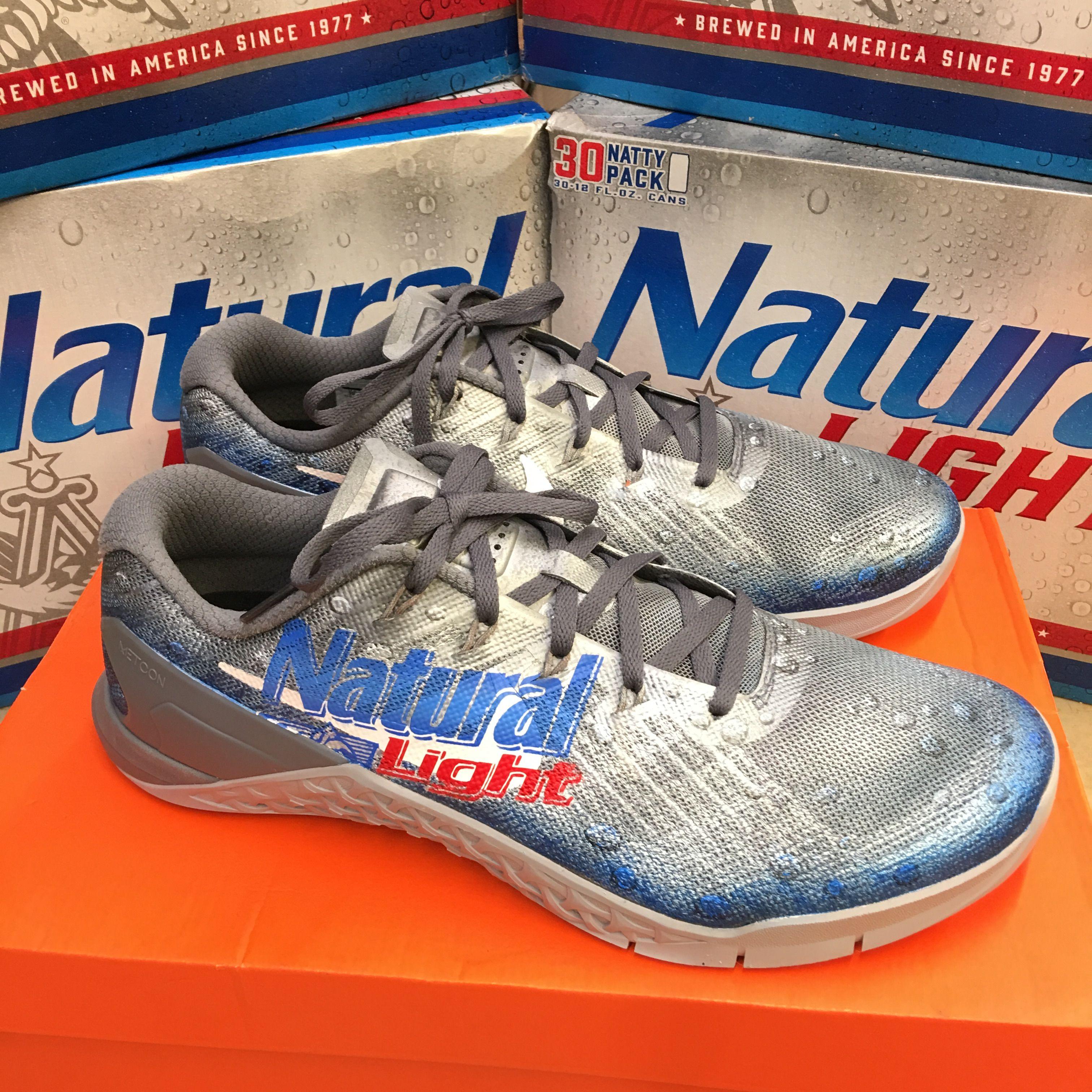 61f6eee50ba32 Custom Painted Natural Light Beer Nike Metcon 3 | Custom Shoes in ...