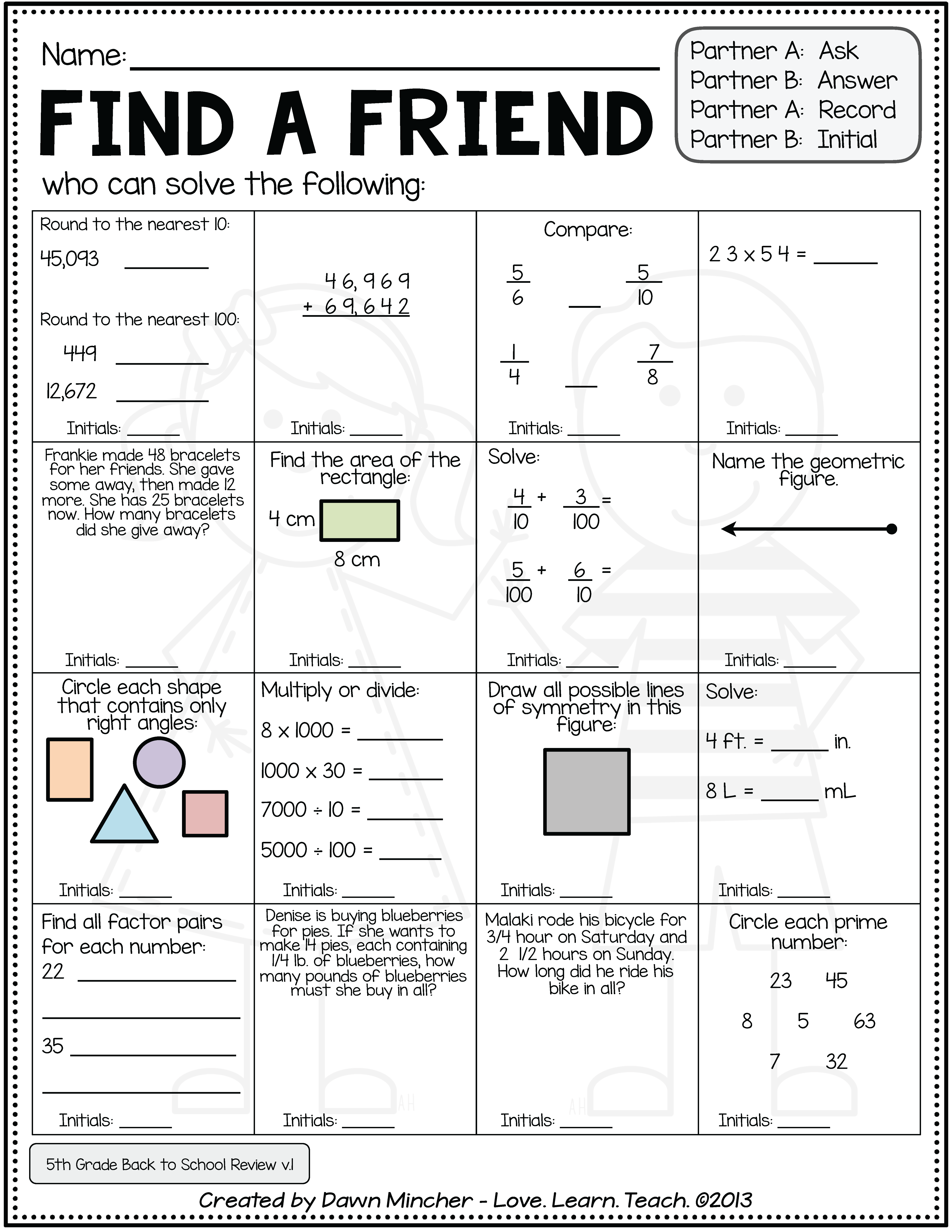 Back to School Activities for Math | 5th Grade (4th Grade ...