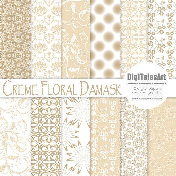 Creme Floral Damask Digital Paper by DigiTalesArt