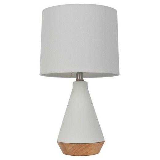 Tapered ceramic table lamp with ceramic wood aqua threshold 23