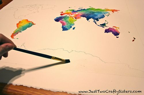 Watercolor world map diy tutorial id probably use black blue and watercolor world map diy tutorial id probably use black blue and light grey for this just so it matches the rest of my room gumiabroncs Image collections
