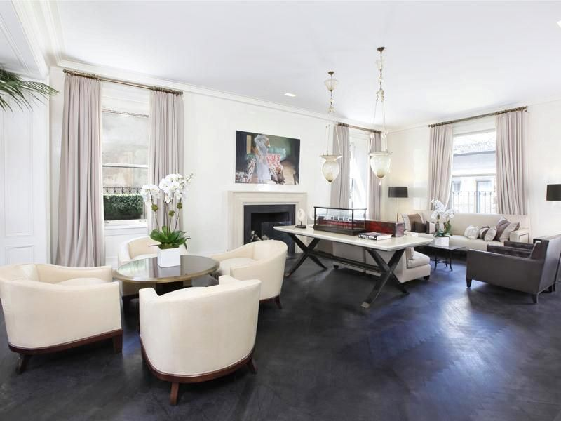 park avenue apartment living room grey wood floors white grey ...