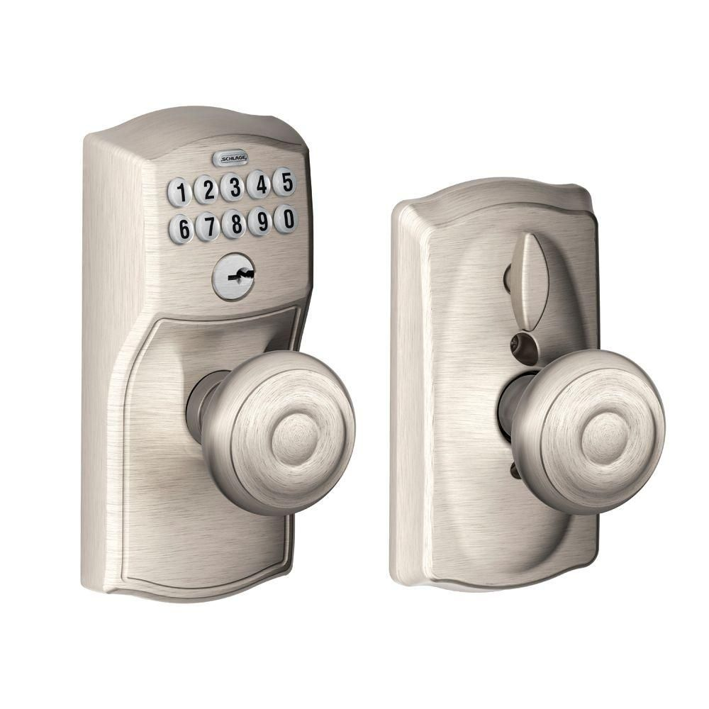 Delicieux Schlage Camelot Keypad Entry With Flex Lock Door Knob Set With Geo Satin  Nickel Knobset Keyless Entry Electronic