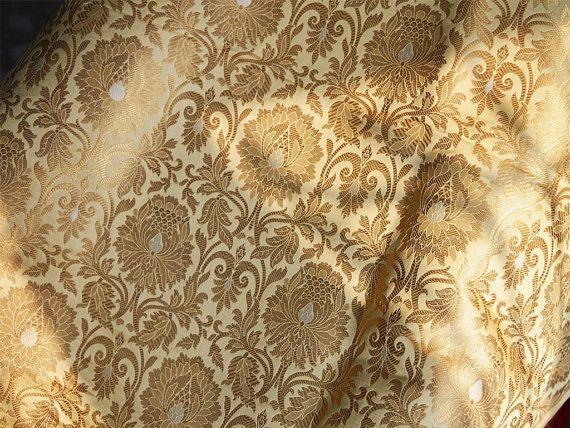 Silk Brocade Fabric Beige Gold Weaving Banaras Brocade Fabric Indian Silk Wedding Dress Fabric Pure Banarasi Brocade Lehenga Silk Brocade Brocade Fabric