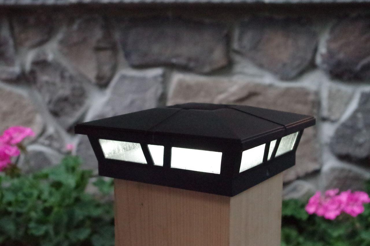6x6 Solar Post Cap Lights 2 Black Aluminum Glass White Led Solar Post Caps Post Lights Led Lights