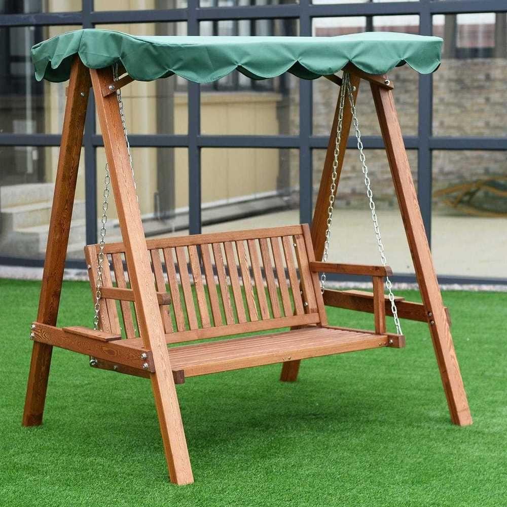 person larch wooden swing loveseat hammock canopy patio garden