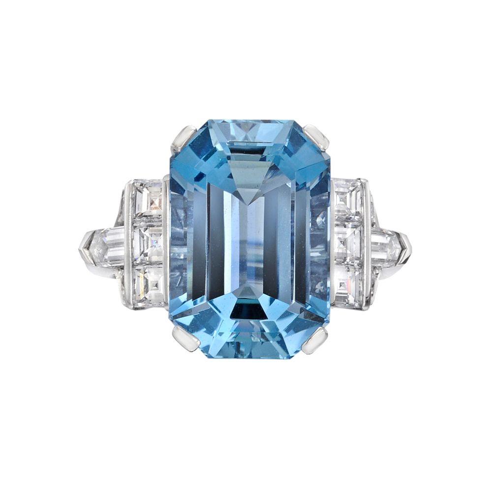 cfc2dacf99f5a Raymond C. Yard 7.76 Carat Emerald-Cut Aquamarine Ring | Gems and ...