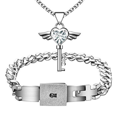 a15a1ebc1 MLOVE Fashion Jewelry Titanium Steel Men's Love Heart Lock Bangle Bracelet  Matching Women's Angel Wings Key Pendant Necklace Couples Gift >>> Check  this ...