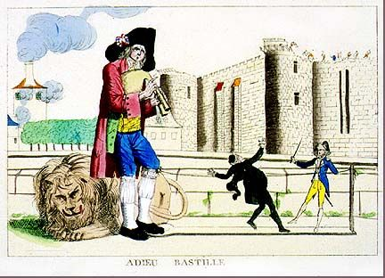 This cartoon equates the taking of the Bastille with the rise of the Third Estate against the clergy and nobility. A commoner in a black hat plays the bagpipe triumphantly over the fallen lion of the absolutist monarchy. To the side, a revolutionary soldier raises his sword to threaten a priest.