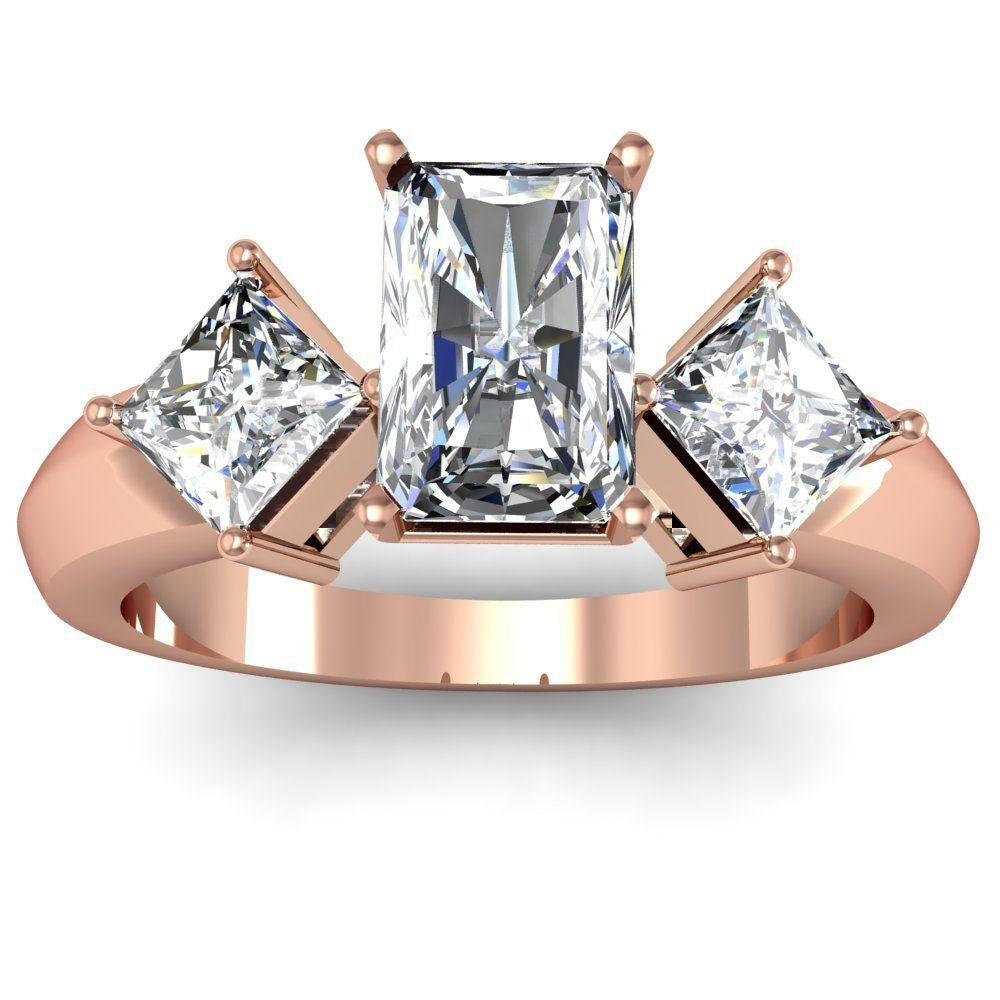 Radiant & Princess Diamond Engagement Ring  Here's A Pretty 3stone Style  14k Rose