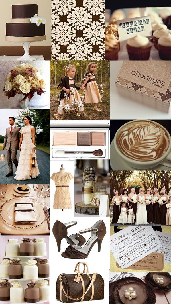 Chocolate Brown Color Scheme Wedding Colorsi Like This With Off White Wraps Around Their Shoulders