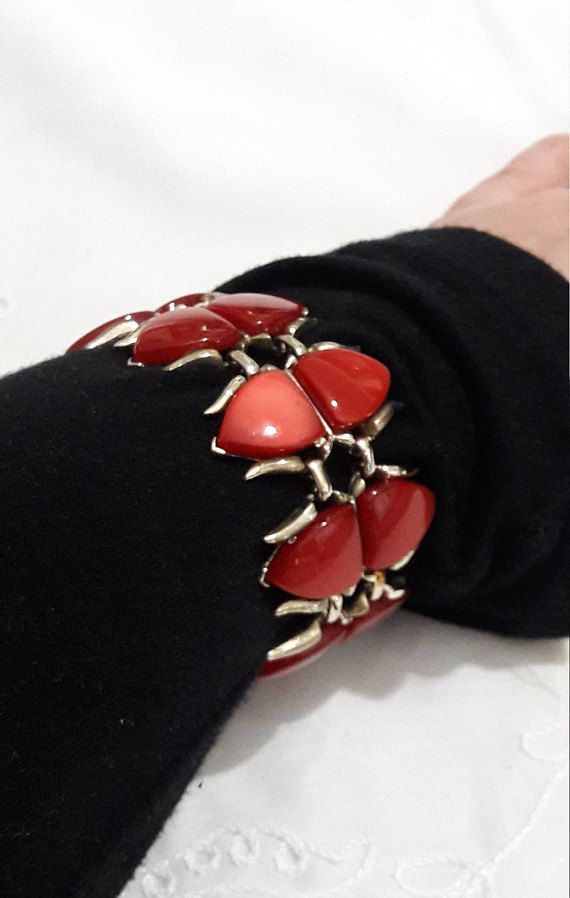 Coro Red Gold Bracelet Thermoset Costume Jewelry Oxblood Handmade