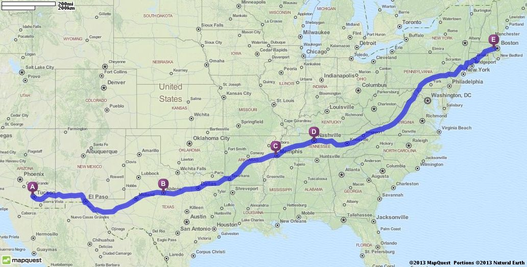 Driving Directions from Tucson, Arizona to Wellesley, Massachusetts ...