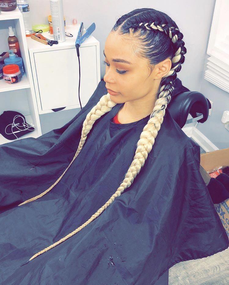 Feed In Braids Instagram 1 Eanhoj Feedinbraided Braided Hairstyles Hair Styles Curly Hair Styles