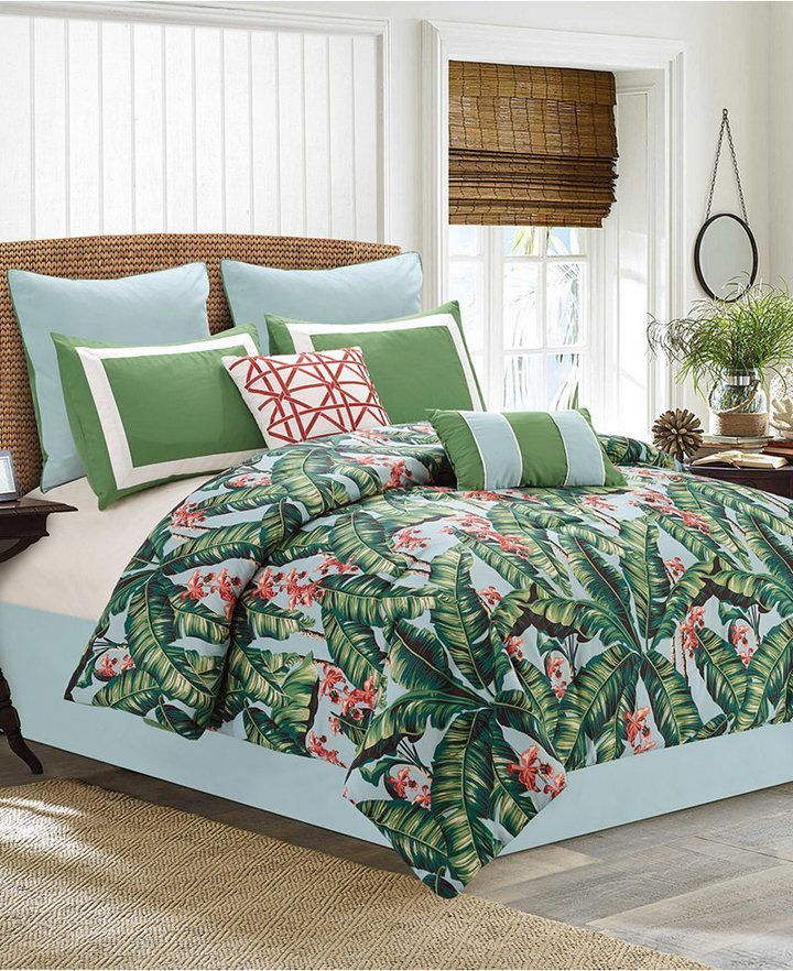 Hallmart Collectibles Lau 8 Pc Tropical Print Queen Comforter Set Bedding