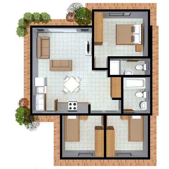 Awesome Medium 3 Bedroom Home With 2 Bathrooms, Option · House Plans