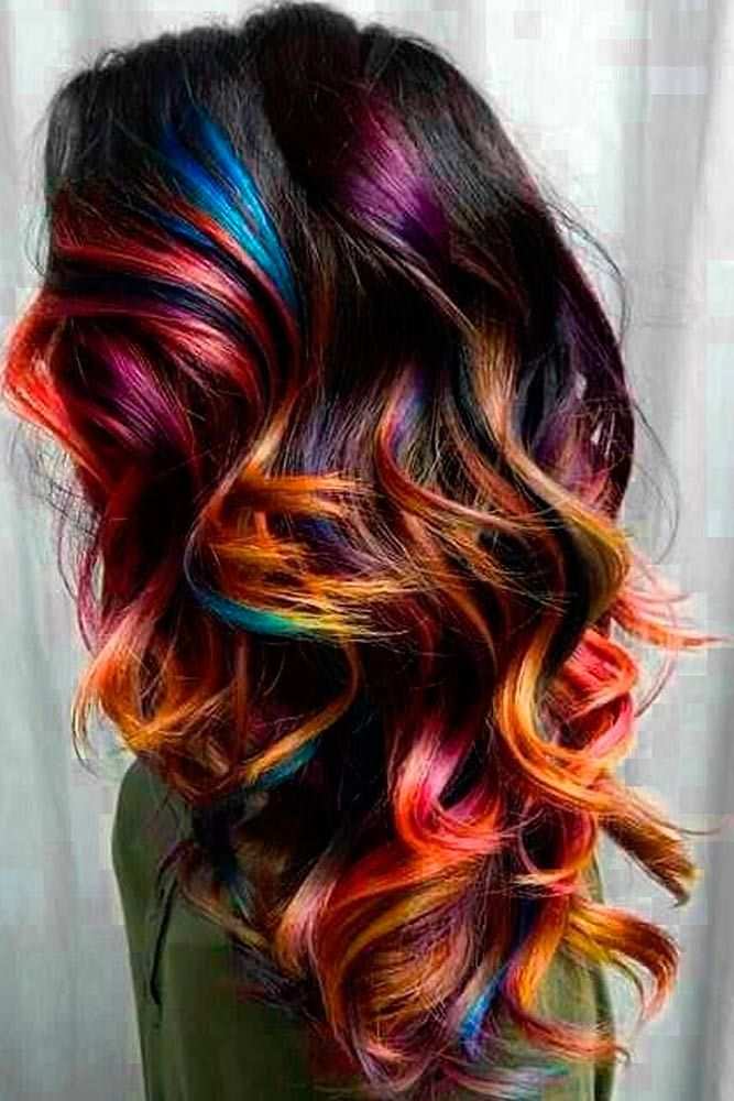 55 Highlighted Hair For Brunettes Lovehairstyles Com Hair Styles Unicorn Hair Color Multi Colored Hair