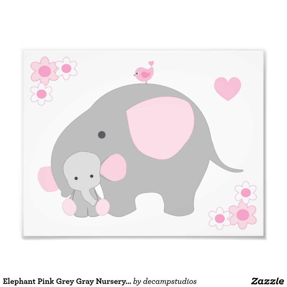 Elephant Pink Grey Gray Nursery Baby Girl Wall Art | Pink ...