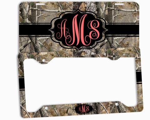Coral Camo Black License Plate Frame Monogrammed Car Tag Personalized Custom