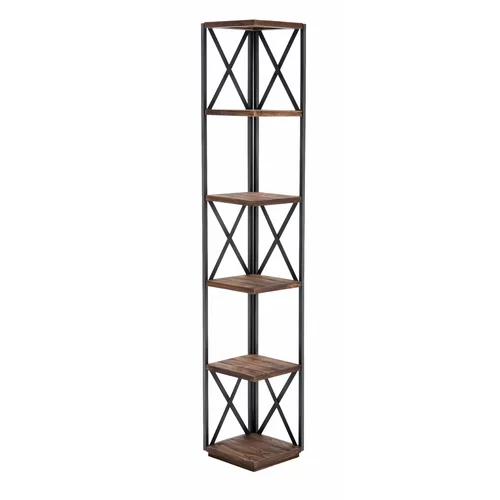 Konen Metal Corner Bookcase Corner Shelves Wood Display Brown Bookcase