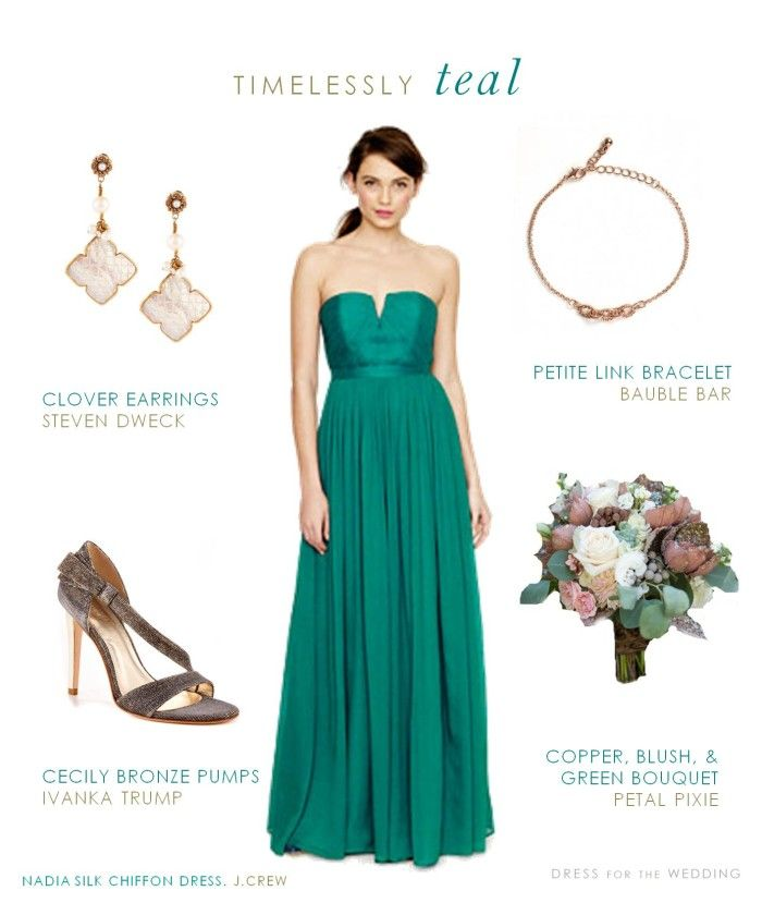 Long Teal Bridesmaid Dress | Green Wedding Ideas | Teal ...
