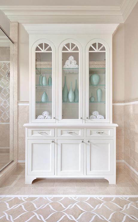 Crema Marfil Bathroom Crema Marfil Marble Shower Enclosure Crema Marfil Marble B Contemporary Master Bathroom Color Bathroom Design White Storage Cabinets