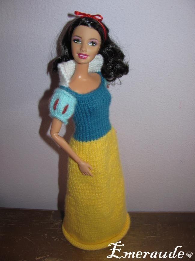 Tricot robe de princesse disney blanche neige barbie - Barbie princesse des neiges ...