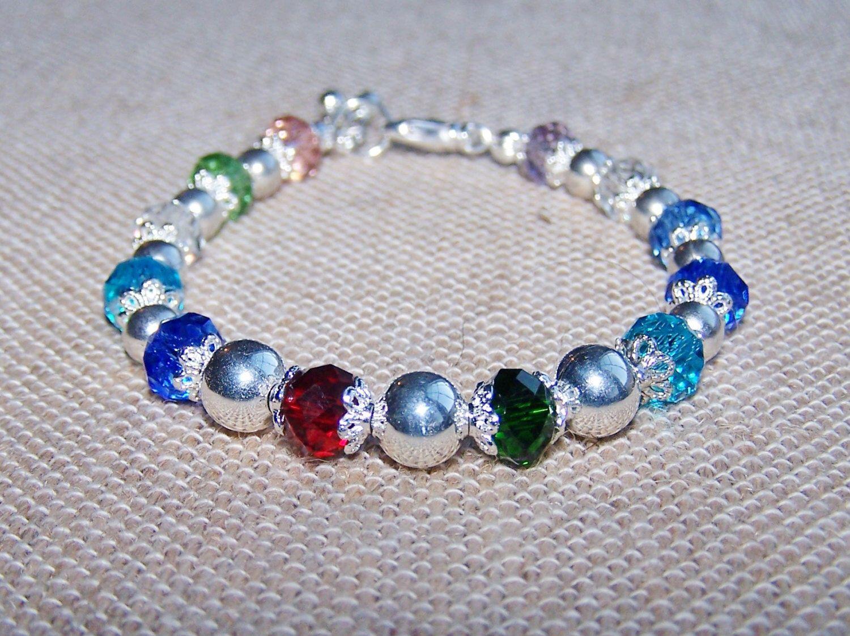 Colorful birthstone bracelet swarovski crystal