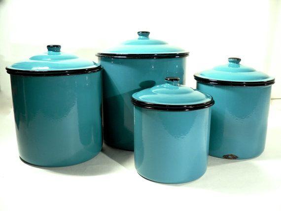 Good Enamel Storage Canister Set Retro Kitchen Turquoise Blue