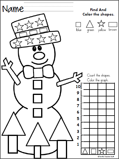 count and graph the shapes snowman kindergarten worksheets kindergarten preschool math. Black Bedroom Furniture Sets. Home Design Ideas
