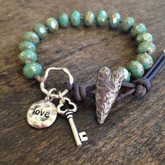 """Rustic Silver Knotted Bracelet, """"Love"""" Key to my Heart, Beaded by Two Silver Sisters"""