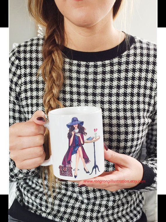 Chic Coffee mug perfect coffee lover gift by RongrongIllustration