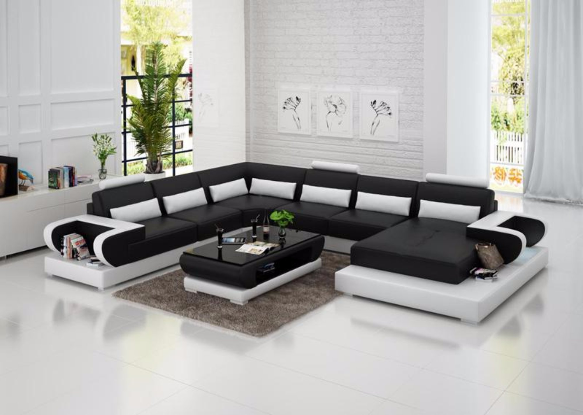 Luxury Modern High quality leather sofa for living room  Living