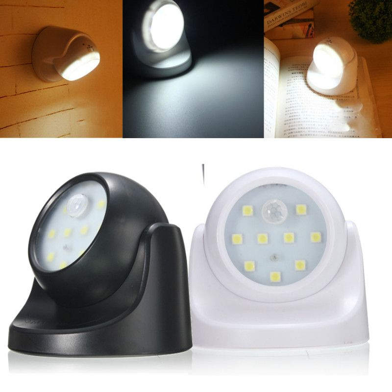 Wholesale Price Free Shipping Led Cabinet Lights 9led Black White Rotation Battery Powered Motion Ac Sensor Night Lights Motion Activated Light Light Sensor